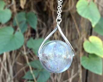 Dandelion Wish Orb Necklace | Large Glass Dandelion Necklace | Real Dandelion Wishes Pendant | Whimsical Gift