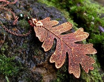 Extra Large Fallen Copper Oak Leaf Necklace   Electroformed Jewelry   Nature Jewelry   REAL Oak Leaf   Copper Oak Leaf Pendant