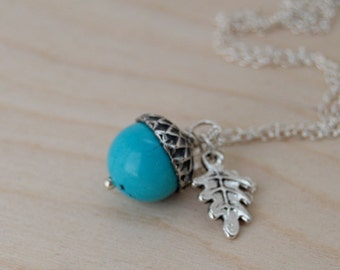 Turquoise and Silver Acorn Necklace   Gemstone Acorn Necklace   Nature Jewelry   Cute Acorn Charm Necklace   Something Blue Jewelry