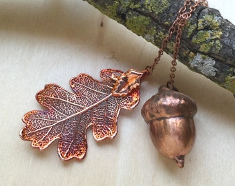 Copper Acorn and Oak Leaf Lariat | REAL Acorn and Leaf | Electroformed Copper Pendant | Autumn Forest Jewelry