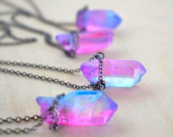 Unicorn Crystal Necklace | Pink and Blue Crystal Necklace | Magical Faerie Quartz Pendant | Neon Crystal Quartz Necklace