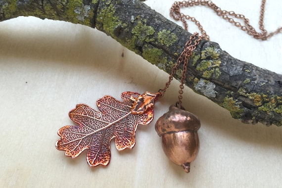 Real acorn Iridescent Copper pendant necklace with gold chain