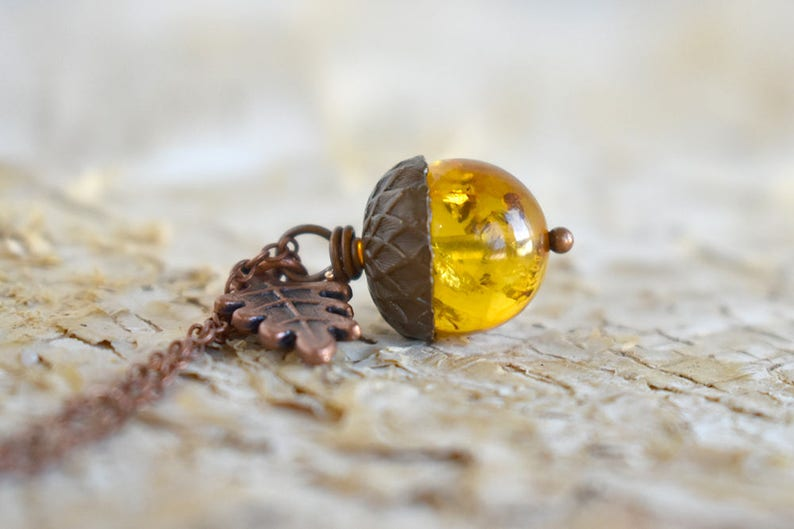 a4b836d83 Baltic Amber and Copper Acorn Necklace Cute Nature Acorn   Etsy