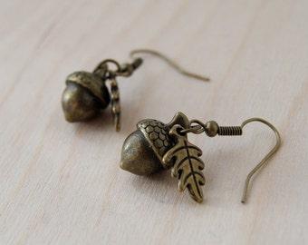 Brass Acorn Charm Earrings   Fall Acorn   Nature Jewelry   Woodland Acorn Earrings