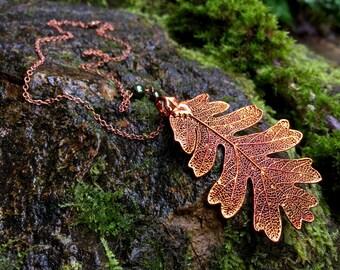 Large Fallen Copper Oak Leaf Necklace | Electroformed Jewelry | Nature Jewelry | REAL Oak Leaf | Copper Oak Leaf Pendant