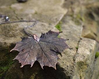 Large Fallen Dark Copper Maple Leaf Necklace   REAL Maple Leaf Pendant  Dark Patina Copper Electroformed Pendant   Nature Jewelry