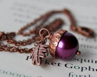 Plum and Copper Acorn Necklace   Purple Pearl Acorn Necklace   Fall Acorn Charm Necklace   Nature Jewelry   Woodland Copper Acorn Pendant