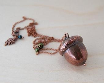 Large Fallen Copper Acorn Necklace | REAL Acorn Charm Pendant | Electroformed Jewelry | Acorn Pendant Necklace | Nature Jewelry