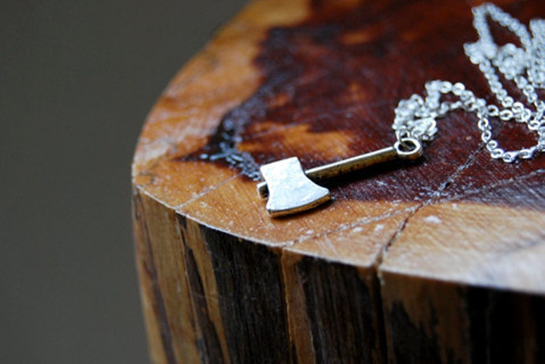 Lumberjack Necklace  Silver Axe Necklace  Cute Woodland Ax image 0