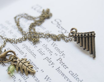 Peter Pan Flute Pipes Necklace | Cute Peter Pan Charm Necklace | Pan Pipes Pendant Necklace