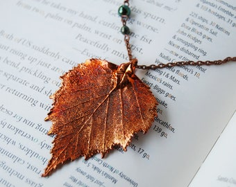 Large Fallen Copper Birch Leaf Necklace | Electroformed Jewelry | Real Birch Leaf Pendant | Nature Jewelry | Fall Leaf Necklace
