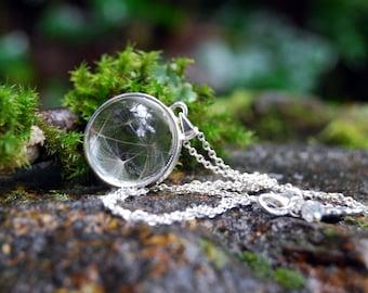 Dandelion Wishes Necklace | Glass Terrarium Necklace | Dandelion Wish Pendant | Whimsical Necklace