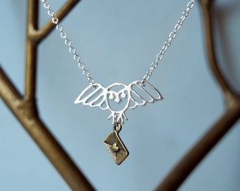 Magical Owl Post Necklace   Owl Messenger Necklace   Owl Mail Necklace   Silver Owl Charm