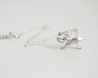 Praying Mantis Necklace | Silver Praying Mantis Charm Necklace | Cute Insect Bug Necklace