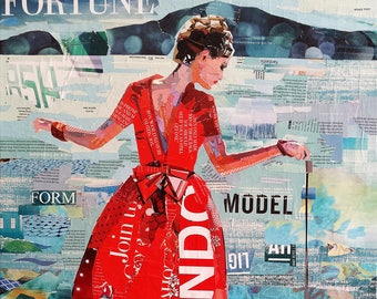 """Original Collage Print on Archival Paper - """"Promenade"""" - Multiple Sizes Available - Free shipping"""