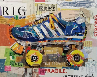 """Original Collage Print on Archival Paper  - """"Need for Speed"""" - Multiple Sizes Available"""