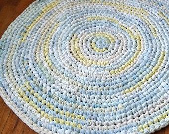 Light Blue, Baby Blue, Lt Yellow, White, Cream, Ecru, Circular Handmade Crocheted Rag Rug ~ Made From Repurposed Sheets