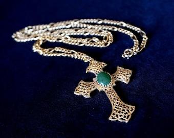 HOBÉ Vintage Gold Metal Filigree Cross Pendant Necklace with Dark Green Stone