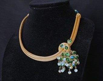 Possibly HOBÉ.  Stunning Vintage Gold Mesh Double Stranded Rope Necklace with Green Blue Crystal Beads