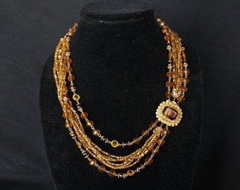 HOBÉ Beautiful Vintage Multi Strand Necklace of Bronze and Amber Glass Beads with Gorgeous Rhinestone and Stone Clasp
