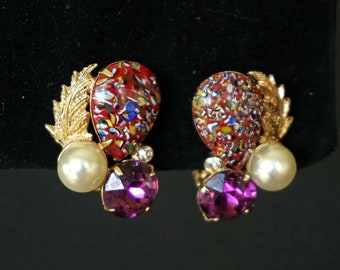 EISENBERG ICE Vintage Amethyst Rhinestone with Faux Pearl and Venetian Glass Clip On Earrings