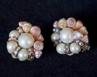 HOBÉ Vintage Clip On Earrings with Sea Shells, Aurora Borealis Rhinestones and Faux Pearls