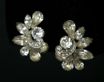EISENBERG Vintage Clear Rhinestone Clip On Earrings
