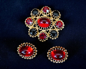 EMMONS Vintage Brooch and Clip On Earring Set in Bright Gold Metal with Red and Black Stone Accents