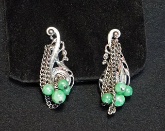 NAPIER Vintage Silver Metal Earrings with Silver Chains and Green Beads