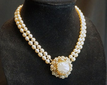 Vintage Double-Strand Faux Pearl Choker with Large Faux Pearl Pendant