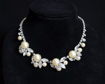 HATTIE CARNEGIE Gorgeous Vintage Rhinestone and Faux Pearl Necklace
