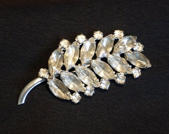 Lovely Vintage Sterling Silver Brooch with Clear and Smoky Rhinestones in Leaf Motif