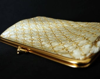 White Cloth Vintage Clutch Purse with Gold Stitching