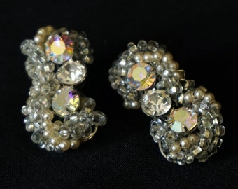 ROBERT Vintage Clip On Earrings with Clear and Aurora Borealis Rhinestones, Clear Beads and Faux Pearls