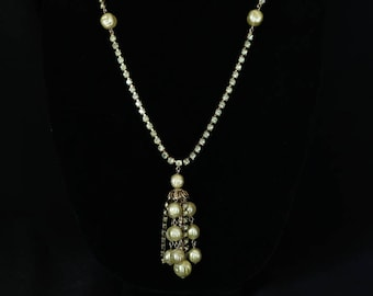 WEISS  Medium Long Vintage Necklace with Pale Green Rhinestones and Beads with Bead and Rhinestone Tassel Pendant