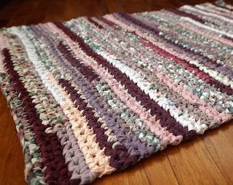 Purple, Pink, Peach, Lavender and White Rectangular Handmade Crocheted Runner Rag Rug ~ Made From Repurposed Sheets