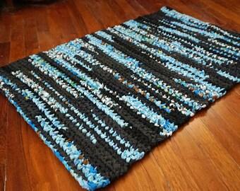Bright Blue and Black with Flecks of White, Green, Brown 2'x3' Rectangular Handmade Crocheted Runner Rag Rug ~ Made From Repurposed Sheets