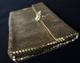 WHITING AND DAVIS Vintage Silver Mesh Clutch Purse with Rhinestone Clasp