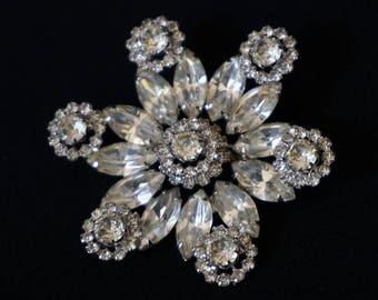 WEISS Dazzling Clear Rhinestone Vintage Flower Brooch