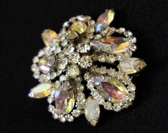 WEISS Clear and Aurora Borealis Rhinestone Vintage Brooch