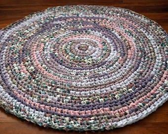 Purple, Pink, Lavender, Lilac, Flecks of Teal Circular Handmade Crocheted Rag Rug ~ Made From Repurposed Sheets