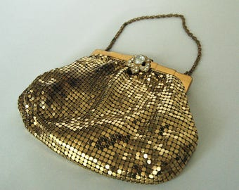 WHITING & DAVIS Vintage Gold Mesh Pouch Purse with Rhinestone Clasp and Chain Handle