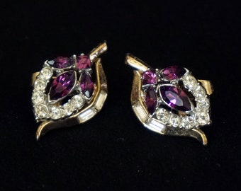 TRIFARI Vintage Purple and Clear Rhinestone Clip On Earrings with Gold Metal in Flower Motif