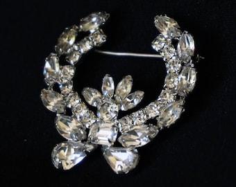 WEISS Clear Rhinestone Vintage Laurel Brooch