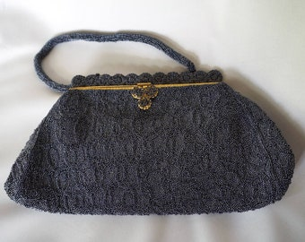 HELENE DALE Paris Gorgeous Vintage Dark Blue Beaded Purse with Mirror and Coin Purse