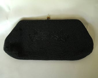 CHARBET Made By Hand in Belgium Black Beaded Vintage Evening Clutch Purse