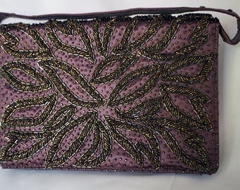 FARIS FRERES Handmade in the Crown Colony of Hong Kong Beautiful Vintage Dark Brown Beaded Purse with Mirror