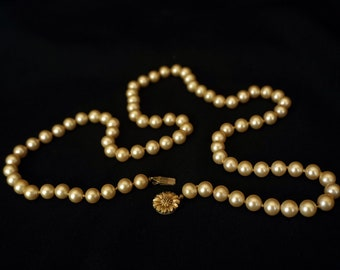 TRIFARI Beautiful Strand of Vintage Faux Pearls with Flower Clasp