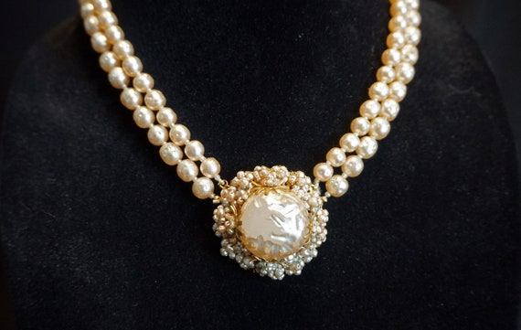 Vintage Double-Strand Faux Pearl Choker with Larg… - image 2