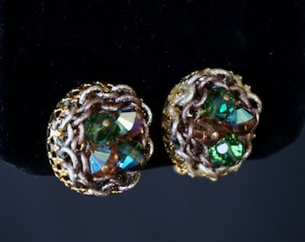 HOBÉ Lovely Vintage Clip On Earrings with Green and Bronze Crystals Set in Gold Metal